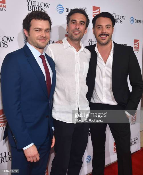 Actor Alden Ehrenreich director Alexandre Moors and Jack Huston attend Saban Films' And DirecTV's Special Screening Of 'Yellow Birds' at The London...