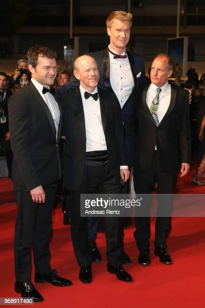 Actor Alden Ehrenreich director Ron Howard actors Joonas Suotamo and Woody Harrelson attend the screening of 'Solo A Star Wars Story' during the 71st...
