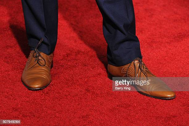 Actor Alden Ehrenreich shoe detail attends the Premiere of Universal Pictures' 'Hail Caesar' at the Regency Village Theatre on February 1 2015 in...