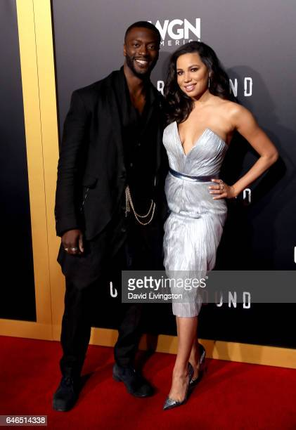 Actor Aldis Hodge and actress Jurnee SmollettBell attend the premiere of WGN America's 'Underground' Season 2 at Westwood Village on February 28 2017...