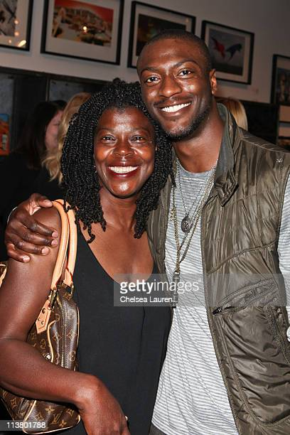 Actor Aldis Hodge and mother Yolette Evangeline Richardson attend the Storm Thorgerson Exhibit TAKEN BY STORM at John Varvatos Los Angeles on May 5...