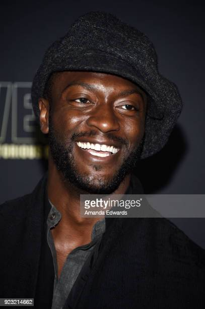 Actor Aldis Hodge arrives at the premiere of USA Network's 'Unsolved The Murders of Tupac and The Notorious BIG' at Avalon on February 22 2018 in...