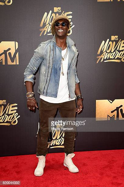 Actor Aldis Hodge attends the 2016 MTV Movie Awards at Warner Bros Studios on April 9 2016 in Burbank California MTV Movie Awards airs April 10 2016...