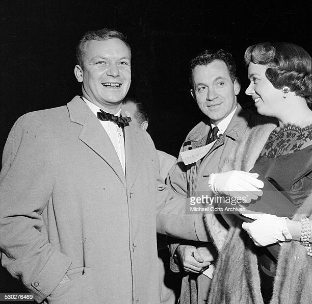 Actor Aldo Ray with his wife Jeff Donnell attend the premiere of Helen of Troy in Los AngelesCA