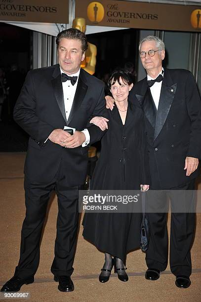 Actor Alec Badwin poses with cinematographer Caleb Deschanel and his wife Mary Jo Deschanel at the 2009 Governors Awards at the Grand Ballroom at...