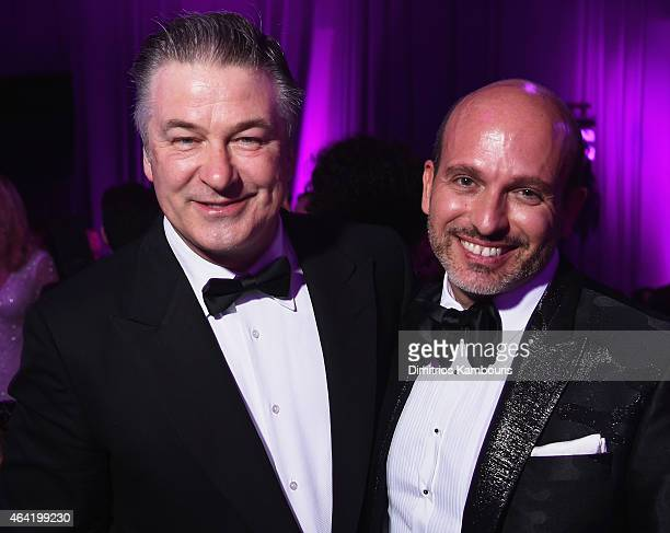 Actor Alec Baldwin and Alessandro Maria Ferreri attend the 23rd Annual Elton John AIDS Foundation Academy Awards Viewing Party on February 22 2015 in...