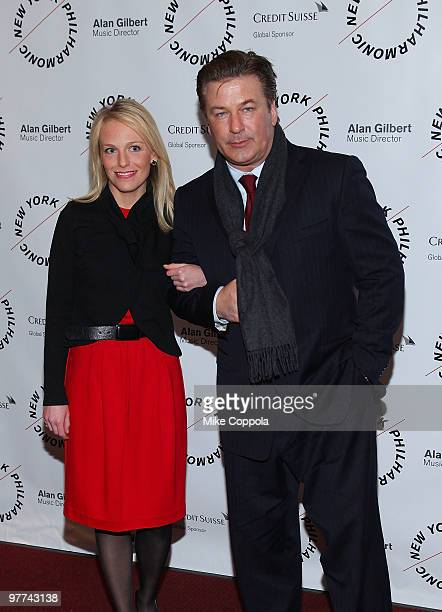 Actor Alec Baldwin and Claire Evans attend the New York Philharmonic 2010 Spring Gala Sondheim The Birthday Concert at Avery Fisher Hall at Lincoln...