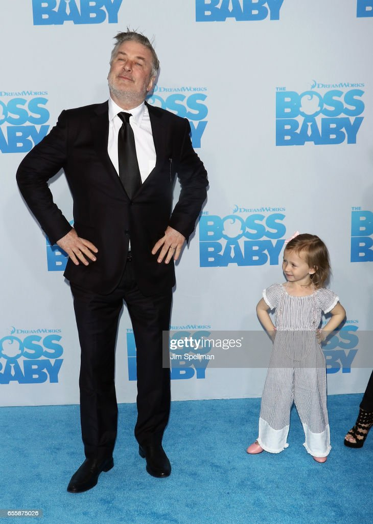 Actor Alec Baldwin and daughter Carmen Gabriela Baldwin attend 'The Boss Baby' New York premiere at AMC Loews Lincoln Square 13 theater on March 20, 2017 in New York City.