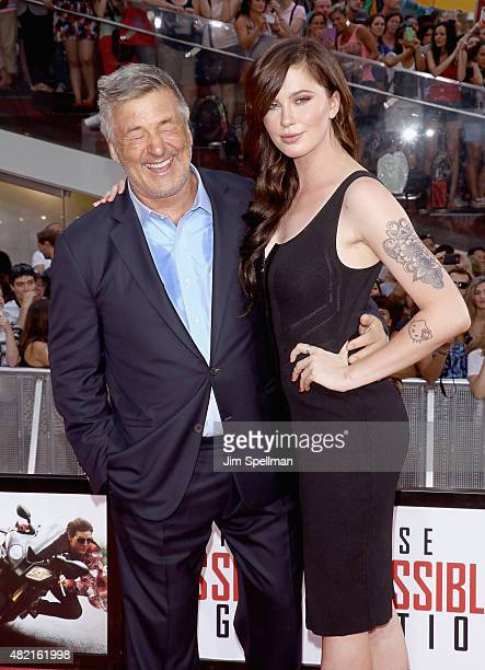 Actor Alec Baldwin and daughter Ireland Baldwin attend the 'Mission Impossible Rogue Nation' New York premiere at Times Square on July 27 2015 in New...