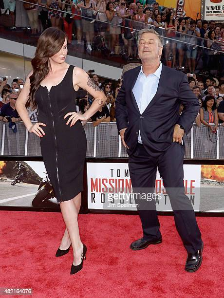 Actor Alec Baldwin and daughter Ireland Baldwin attend the Mission Impossible Rogue Nation New York premiere at Times Square on July 27 2015 in New...