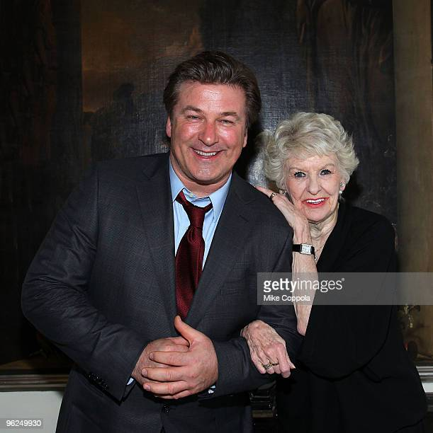 Actor Alec Baldwin and Elaine Stritch attend 'At Home At The Carlyle Elaine Stritch Singin' Sondheim One Song At A Time' at Cafe Carlyle on January...