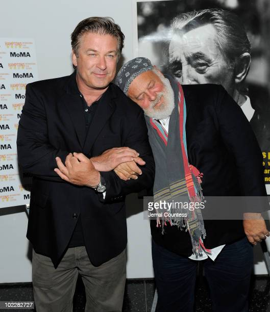 Actor Alec Baldwin and filmmakerphotographer Bruce Weber pose for a photo at Talking Tough Singing Soft at The Museum of Modern Art on June 21 2010...