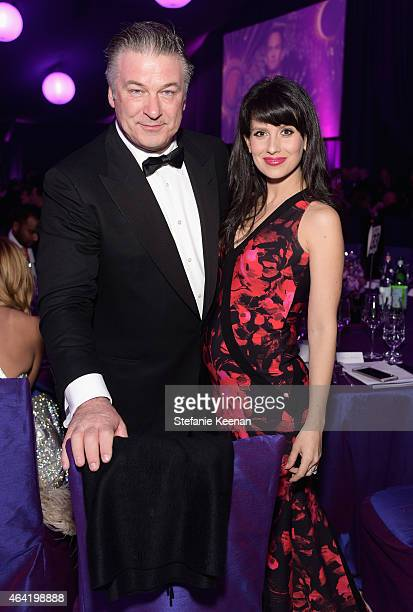 Actor Alec Baldwin and Hilaria Baldwin attend the 23rd Annual Elton John AIDS Foundation Academy Awards viewing party with Chopard on February 22...