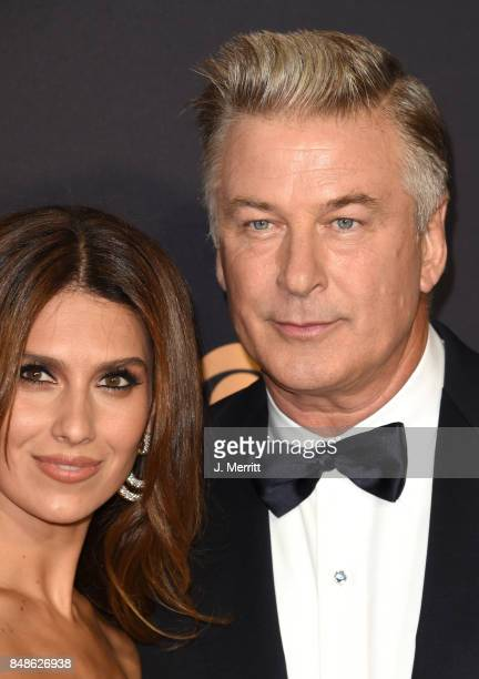 Actor Alec Baldwin and Hilaria Baldwin attend the 69th Annual Primetime Emmy Awards at Microsoft Theater on September 17 2017 in Los Angeles...