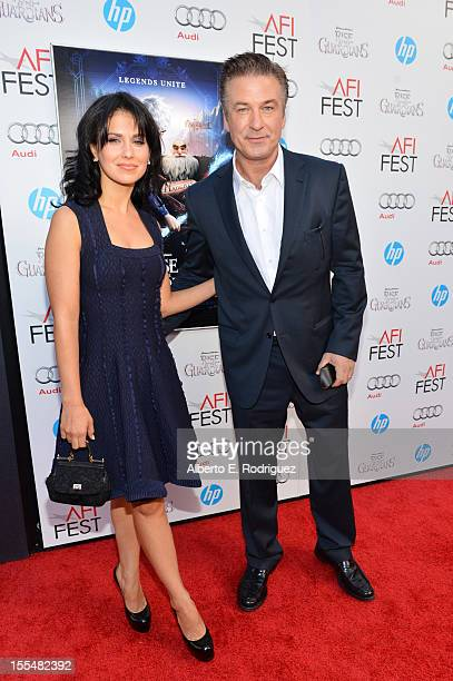 Actor Alec Baldwin and Hilaria Thomas arrive at the premiere of Rise of the Guardians during the 2012 AFI Fest presented by Audi at Grauman's Chinese...