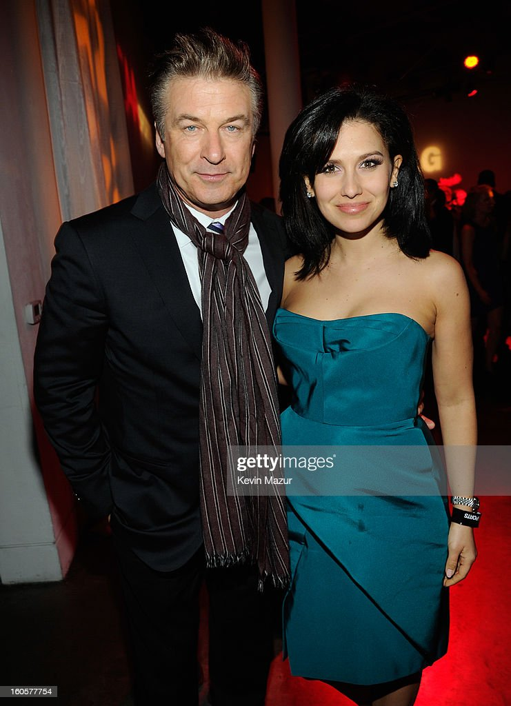 Actor Alec Baldwin and Hilaria Thomas attend CAA Sports Super Bowl Party presented By LG at Contemporary Arts Center on February 2, 2013 in New Orleans, Louisiana.