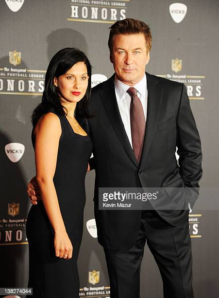 Actor Alec Baldwin and Hilaria Thomas attend the 2012 NFL Honors at the Murat Theatre on February 4, 2012 in Indianapolis, Indiana.