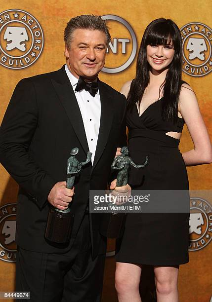Actor Alec Baldwin and his daughter Ireland pose with his award for Outstanding Performance by a Male Actor in a Comedy Series for '30 Rock' in the...