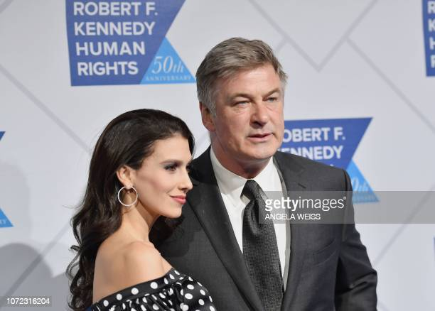 US actor Alec Baldwin and his wife Hilaria Baldwin attend the 2018 Robert F Kennedy Human Rights' Ripple Of Hope Awards at New York Hilton Midtown on...