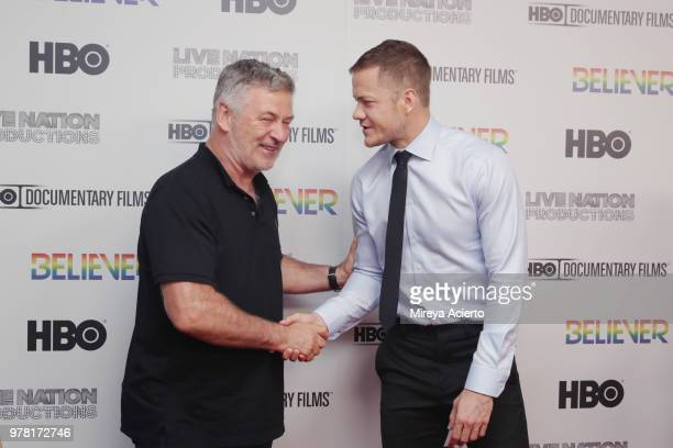Actor Alec Baldwin and Imagine Dragons frontman Dan Reynolds attend the Believer New York Premiere at Metrograph on June 18 2018 in New York City