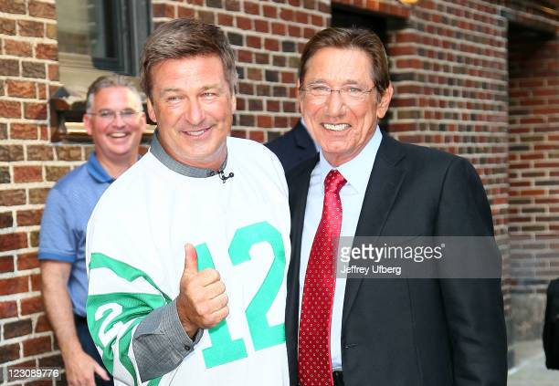 Actor Alec Baldwin and NFL Hall of Famer Joe Namath outside Late Show With David Letterman at the Ed Sullivan Theater on August 30 2011 in New York...