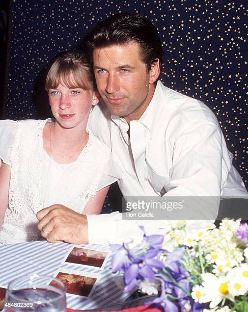 Actor Alec Baldwin and niece Jessica Keuchler attend the Bay Street Theatre Benefit Party on July 10 1993 at Marine Park in Sag Harbor Long Island...