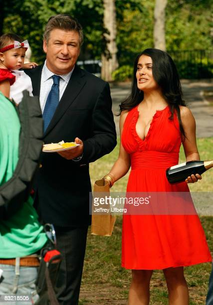 Actor Alec Baldwin and Salma Hayek filming on location for '30 Rock' on October 10 2008 in New York City