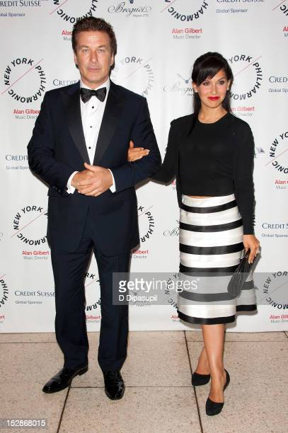 Actor Alec Baldwin and wife Hilaria Thomas attend the New York Philharmonic 171st season opening gala at Avery Fisher Hall at Lincoln Center for the...