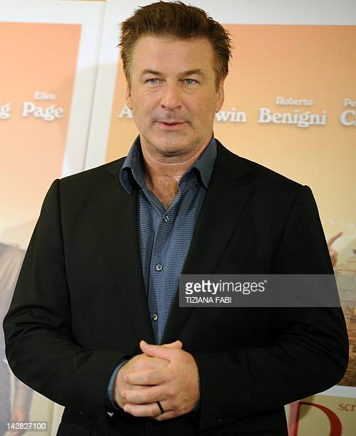 US actor Alec Baldwin poses during the potocall of 'To Rome With Love' on April 13 2012 at a hotel in Rome 'To Rome With Love' is directed by US...