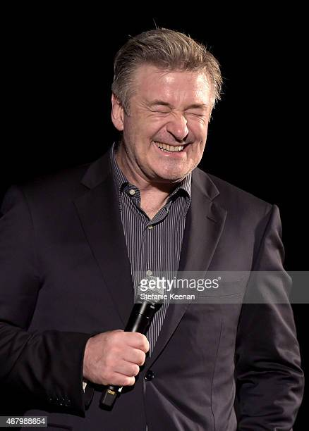 Actor Alec Baldwin speaks onstage after a screening of 'The French Connection' during day three of the 2015 TCM Classic Film Festival on March 28...