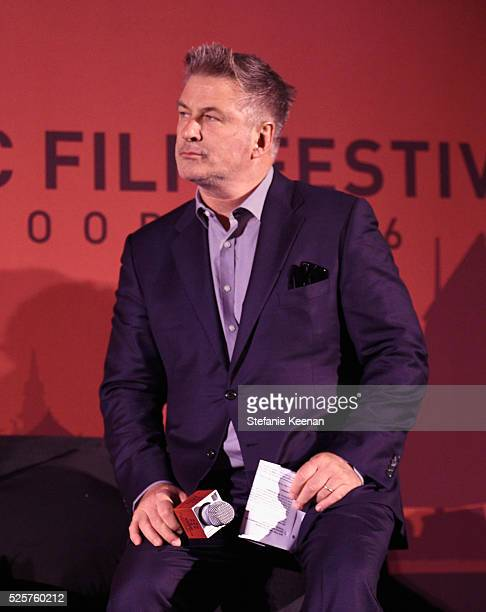 Actor Alec Baldwin speaks onstage at the screening of 'All The President's Men' during the TCM Classic Film Festival 2016 Opening Night on April 28...