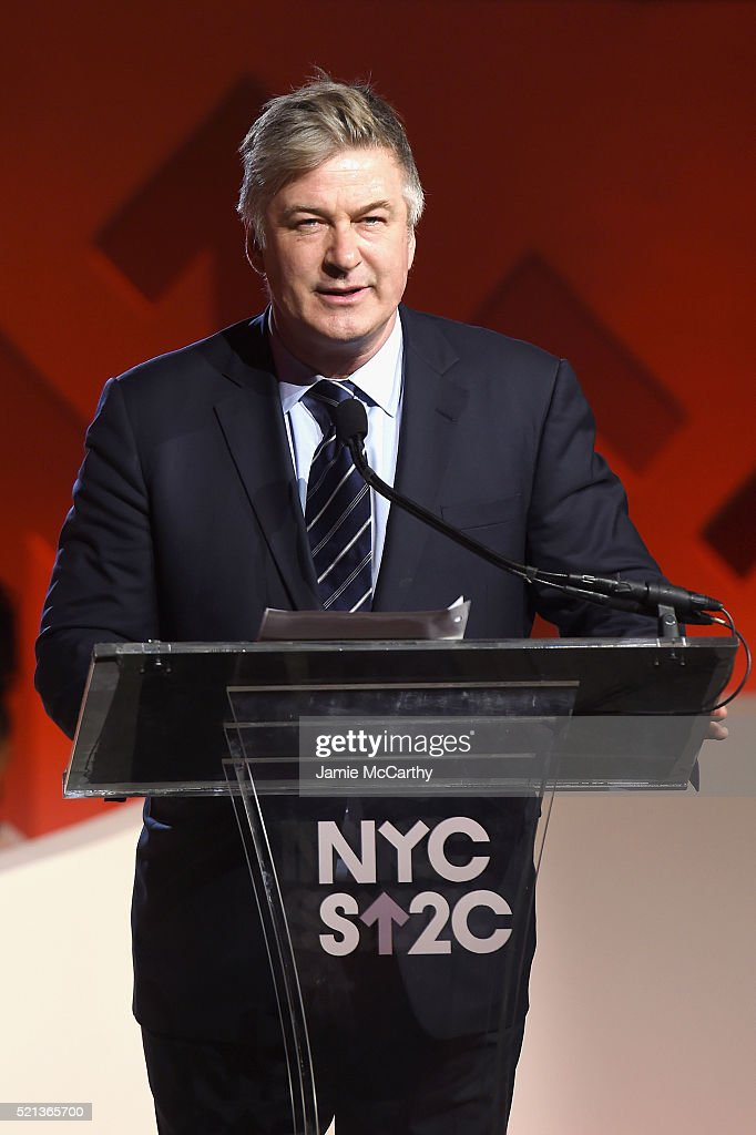 Actor Alec Baldwin speaks onstage during Stand Up To Cancer's New York Standing Room Only, presented by Entertainment Industry Foundation, with donors American Airlines and Merck, chaired by Jim Toth, Reese Witherspoon & MasterCard President/CEO Ajay Banga and his wife Ritu, honoring Katie Couric at Cipriani Wall Street on April 9, 2016 in New York City.