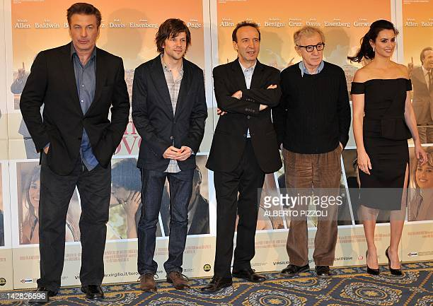US actor Alec Baldwin US actor Jesse Eisenberg Italian actor Roberto Benigni US film director Woody Allen and Spanish actress Penelope Cruz pose...