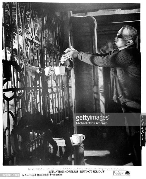 Actor Alec Guinness on set the movie 'Situation Hopeless But Not Serious' circa 1965