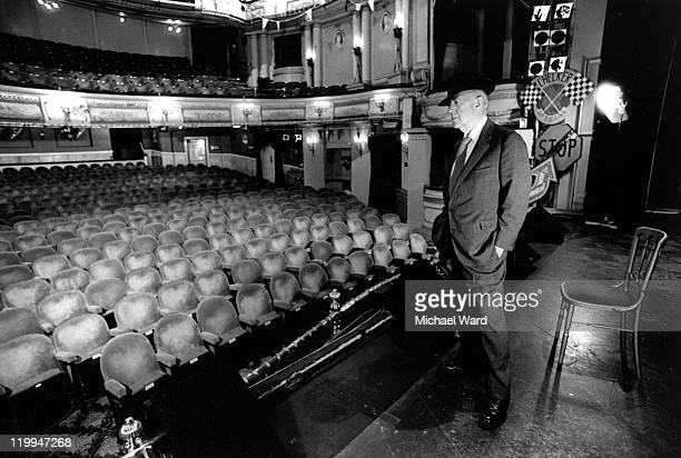 Actor Alec Guinness on the stage of the Albery Theatre 1985
