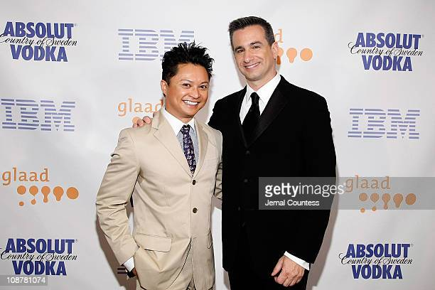 Actor Alec Mapa and GLAAD President Neil G Giuliano attend the 19th Annual GLAAD Media Awards at the Marriott Marquis on March 17 2008 in New York...