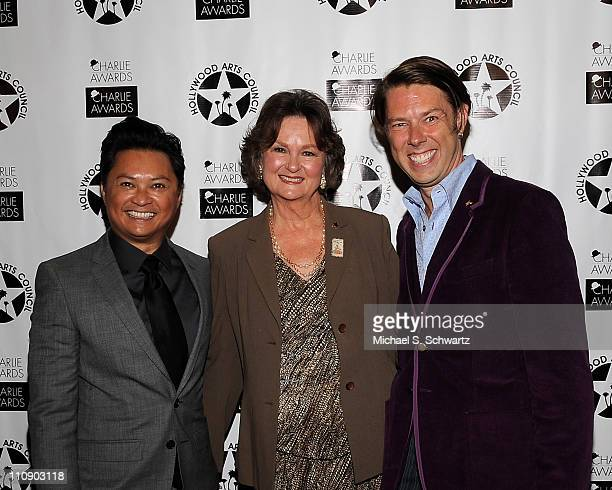 Actor Alec Mapa Hollywood Arts Council President Nyla Arslanian and event committee member Daniel Henning pose during the Hollywood Arts Council's...