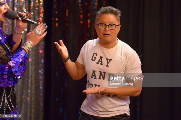 Actor Alec Mapa performs at a signing party for photographer Jan Dee Gordon's new book LGBTQ Of STEEL at Casita Del Campo on July 24 2019 in Los...