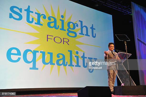 Actor Alec Mapa speaks onstage at PFLAG National's eighth annual Straight for Equality awards gala at Marriot Marquis on April 4, 2016 in New York...