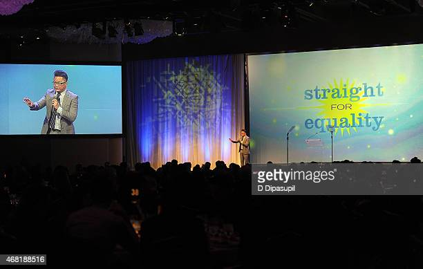 Actor Alec Mapa speaks onstage at the 7th Annual PFLAG National Straight For Equality Awards Gala at The New York Marriott Marquis on March 30 2015...