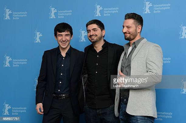 Actor Alechan Tagaev, director Umut Dag and actor Murathan Muslu attend the 'Cracks in Concrete' photocall during 64th Berlinale International Film...