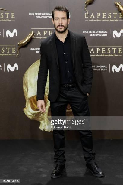 Actor Alejandro Albarracin attends the 'La peste' premiere at Callao cinema on January 11 2018 in Madrid Spain