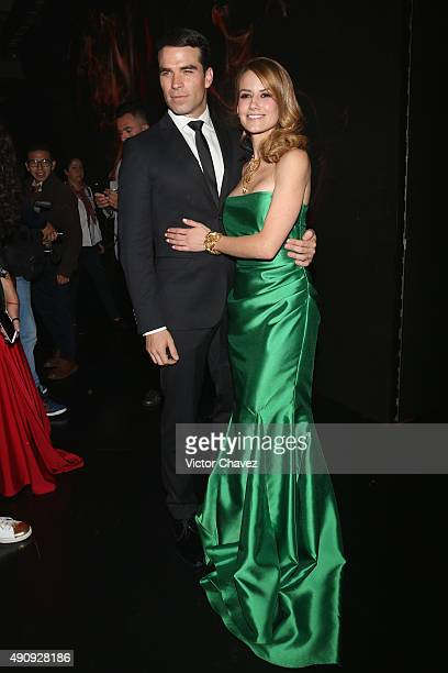 Actor Alejandro Nones and actress Altair Jarabo attend the Pasion y Poder press conference at Live Aqua Bosques on October 1 2015 in Mexico City...