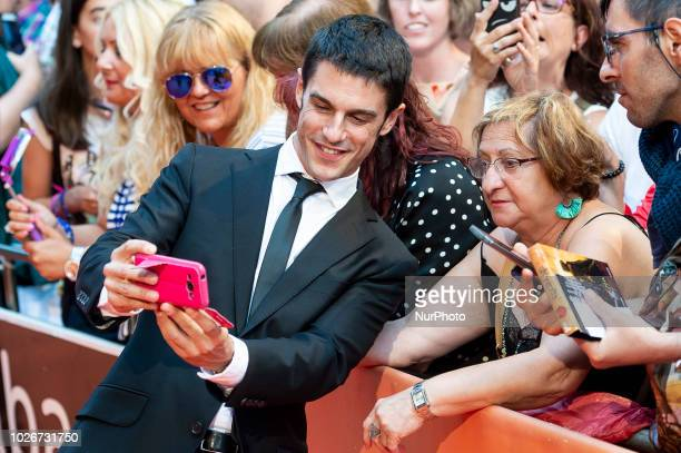 Actor Alejo Sauras taking a selfie with a fan during orange carpet of 'Estoy Vivo' during FestVal in Vitoria Spain September 04 2018