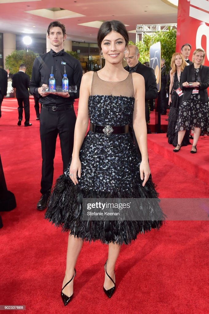 Actor Alessandra Mastronardi attends The 75th Annual Golden Globe Awards at The Beverly Hilton Hotel on January 7, 2018 in Beverly Hills, California.