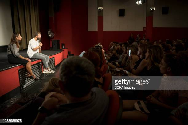 Actor Alessandro Borghi and actress Jasmine Trinca seen before the audience during the presentation Presentation of the movie On My Skin at the 75th...