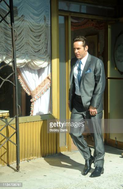 Actor Alessandro Nivola as Dickie Moltisanti on set Day 1 of The Sopranos Prequel The Many Saints of Newark on April 3 2019 in New York City