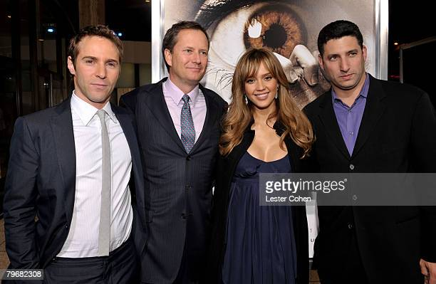 Actor Alessandro Nivola Michael Burns Actress Jessica Alba and Nick Myer attend the premiere of The Eye at the Pacific Cinerama Dome on January 31...