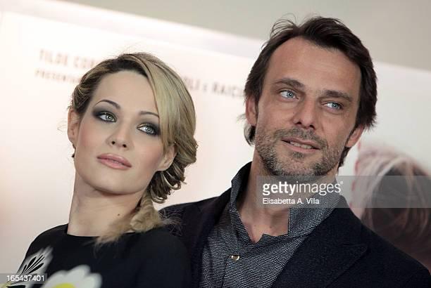 Actor Alessandro Preziosi and actress Laura Chiatti attend Il Volto di un'Altra at Cinema Barberini on April 4 2013 in Rome Italy