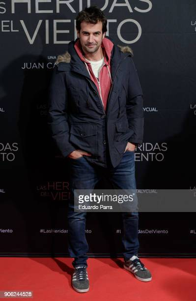 Actor Alex Adrover attends the 'Las heridas del viento' premiere at Palacio de la Prensa cinema on January 17 2018 in Madrid Spain
